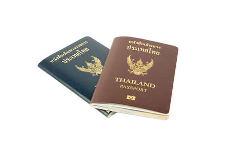 clipping path Thailand passport and OFFICIAL passsport isolated on white background.