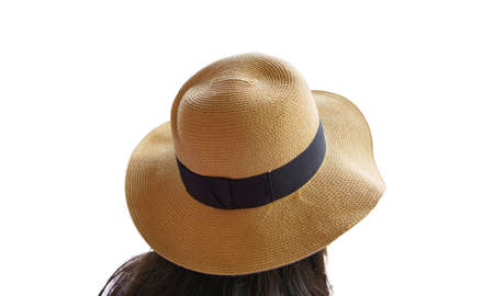 Clipping path Rear, back view long hair woman wearing  straw hat yellow with black ribbon isolated on white background. Stock Photo