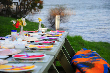 colorful picnic table by sea on green grass  photo