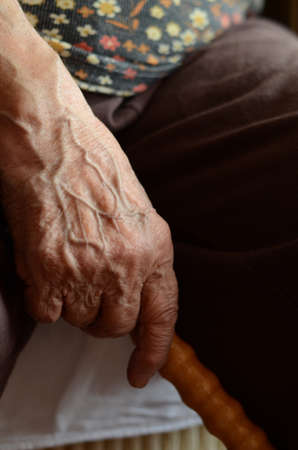 wrinkled hand holding a wooden cane photo