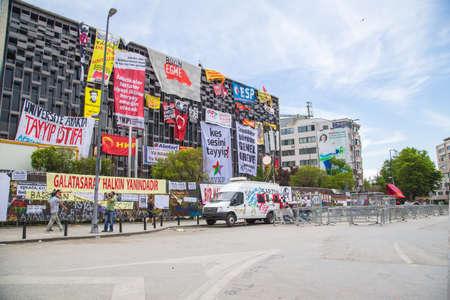 ISTANBUL, TURKEY - JUNE 06, 2013: AKM building during Gezi Park Public Protest against the government.