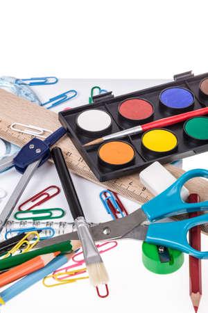 compas de dibujo: de vuelta a la escuela de fondo con múltiples efectos de escritorio Foto de archivo