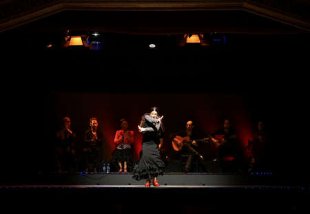 A female flamenco dancer performing on stage in Barcelona, Spain.