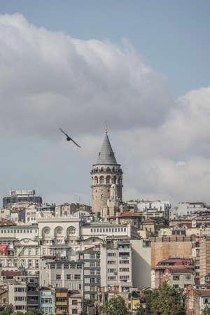 View of Karakoy and Galata Tower from Eminonu coast in Istanbul, Turkey