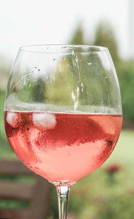Ein Weinglas gegen einen Garten im Frühjahr Standard-Bild - 93162126