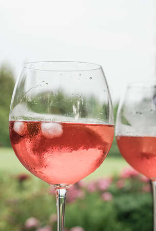 Wine glasses at garden in summer