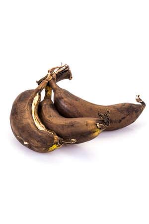 over ripe (rotten) bananas on white