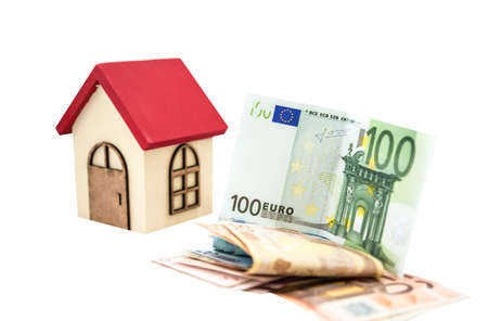 small wooden house and euro banknotes isolated on white