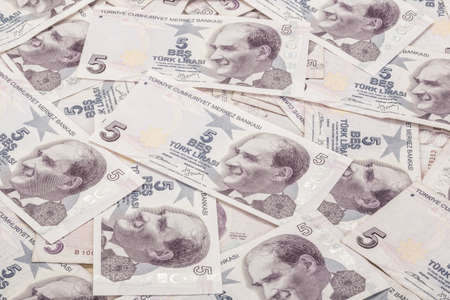 Background with Turkish Lira banknotes