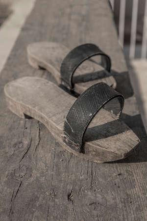 pair of old turkish handmade wooden slippers Stock Photo