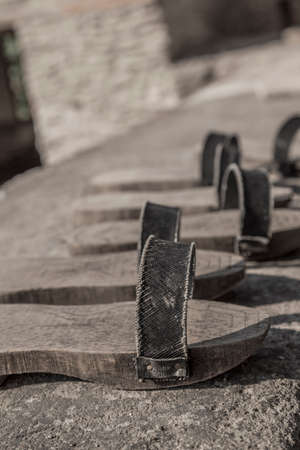 closeup old turkish handmade wooden slippers