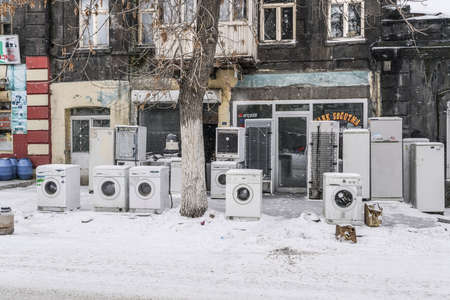 Secondhand White Goods piled up outside of shop in Kars city of Turkey.