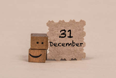template for december 31 with smiley face icon