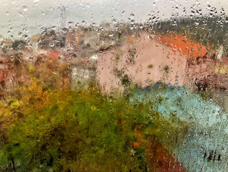 background with rain drops on window pane like a painting