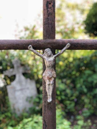 christian cross in a cemetery in Romania Stock Photo