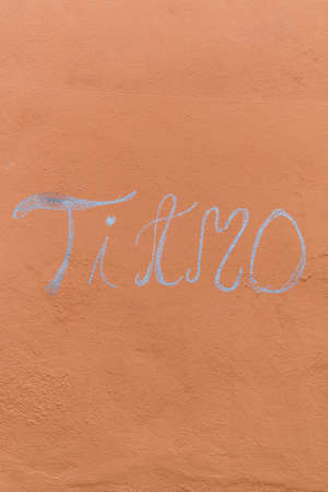 I love you in Italian. Ti amo written on a wall with chalk. Stock fotó