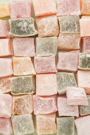 closeup colorful assortment of Turkish delights as a background Stock Photo