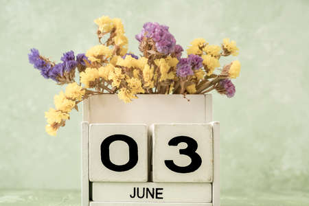 White cube calendar for june decorated with flowers over green background with copy space 版權商用圖片 - 147521626
