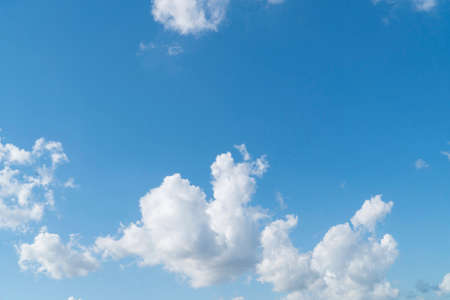 blue sky background with white soft clouds with copy space 版權商用圖片