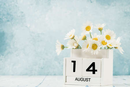 White cube calendar for august decorated with daisy flowers over blue with copy space