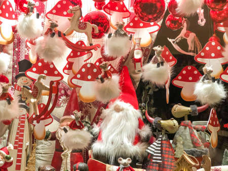 colorful christmas decorations as background for new year