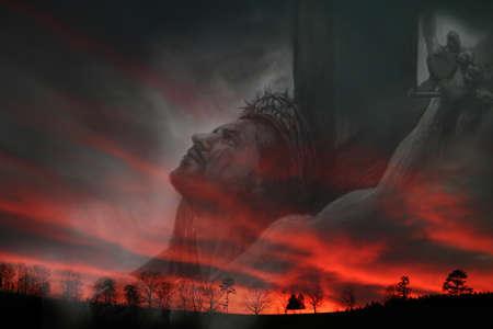 perdonar: Jes�s en la cruz del calvario obra de arte  Foto de archivo