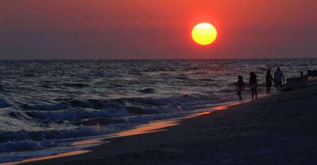 panama city beach: Sunset on the beach in Panama City, Florida.  Stock Photo
