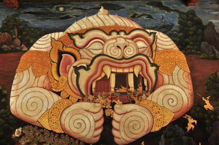 hanuman: Art Hanuman in Wat Phrakaew Stock Photo