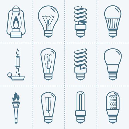 Various light bulb icons set. Vector illustration Illustration