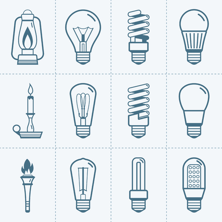 Various light bulb icons set. Vector illustration Imagens - 64393967