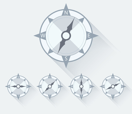different directions: Compass flat icons with long shadow, different directions. Vector illustration Illustration
