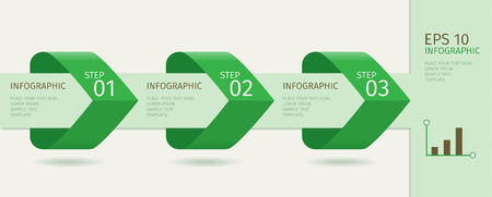 step up: Green infographic arrows with step up options. Vector template in flat design style