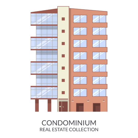 condominium: Condominium building, real estate sign in flat style. Vector illustration