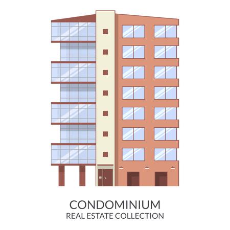 condominium: Condominium building, real estate sign in flat style. Vector illustration