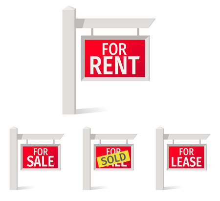 Real Estate Signs, red plate on the pole