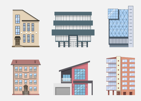 town houses: Real Estate Building Icons and Symbols set, isolated. Vector illustration