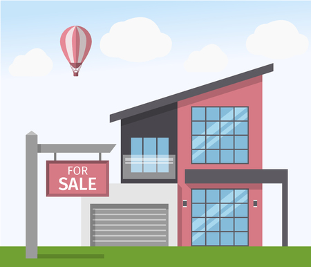 house for sale: House for Sale sign. Vector illustration in flat style Illustration