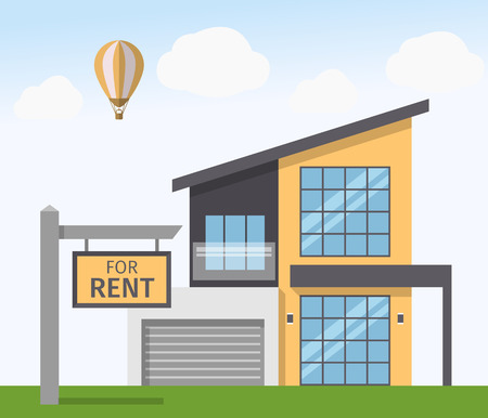 house for rent: House for Rent sign. Vector illustration in flat style Illustration
