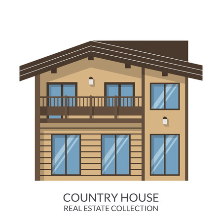 country house style: Country house, real estate sign in flat style. Vector illustration