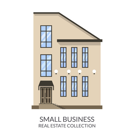 small business building: Small business building, real estate sign in flat style. Vector illustration