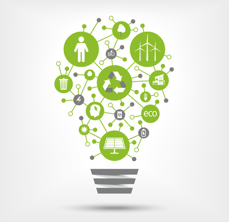 green environment: Green, ecology and environment icons in light bulb. Vector illustration.