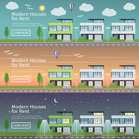 Schöne Reihe von flachen Vektor Web-Banner auf das Thema der modernen Immobilien zu verschiedenen Zeiten des Tages. Vektorgrafik