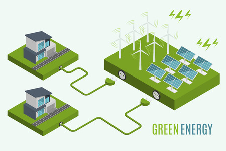 Houses with alternative Eco Green Energy, flat 3d web isometric infographic concept. Wind Turbines and Solar Panels set. Vector illustration.