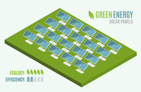 Blue Solar Panels. Flat 3d web isometric. Modern Alternative Eco Green Energy. Vector illustration