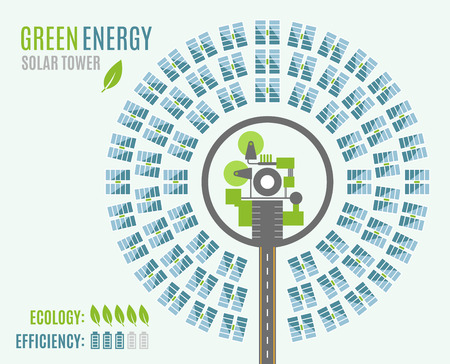 from above: Circular Solar Power Plant with Tower and heliostats, view from above. Modern Alternative Eco Green Energy. Vector illustration Illustration