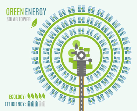 Solar Power Plant with Tower and heliostats, view from above. Modern Alternative Eco Green Energy. Vector illustration