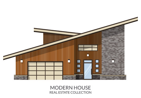 country house style: Modern country house, real estate sign in flat style. Vector illustration. Illustration