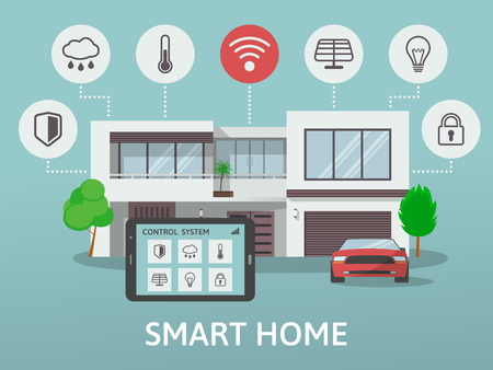 centralized: Modern Smart Home. Flat design style concept, technology system with centralized control. Vector illustration.