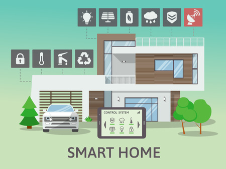 centralized: Modern Big Smart Home. Flat design style concept, technology system with centralized control. Vector illustration.