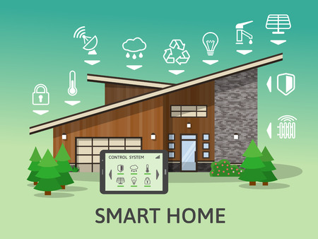 centralized: Modern Country Big Smart Home. Flat design style concept, technology system with centralized control. Vector illustration.